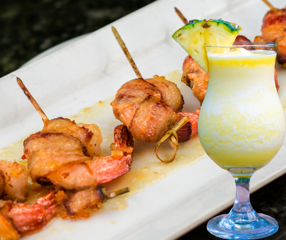 Jalapeno Bacon Wrapped Shrimp paired with our Pina Bianca frozen wine cocktail